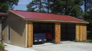 Residential garage with wood siding in Kings Mountain, North Carolina